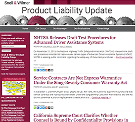 Product Liability Update Blog